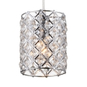 Dining Room Lighting Modern, Height Adjustable Clear Crystal Bead Cylinder Pendant Lighting in Nickle with Hanging Cord