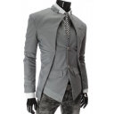 Mens Stylish Irregular Design Stand Collar Long Sleeve Double Buttons Plain Blazer Coat
