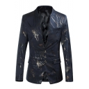 Trendy Floral Print Stand Up Collar Long Sleeve Button Front Slim Fitted Mens Blazer Jacket
