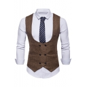 Men's Plain Double Breasted Belt Back Design Business Suit Vest
