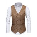 Men's Fashion Night Club Coated Metallic Double Breasted Suit Vest for Party
