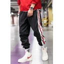 Hip Hop Style Striped Tape Side Drawstring Waist Men's Loose Fit Track Pants