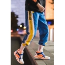 Hip Hop Style Letter Striped Tape Side Drawstring Waist Unisex Casual Track Pants