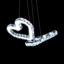 Modern Heart Shape Pendant Light 2 Lights Metal Chandelier with Clear Crystal Decoration in Chrome
