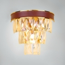 Brown Wall Sconce Dining Room 4 Lights Modern Wall Light Fixture with Clear Crystal