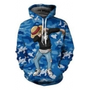 Cool Comic Camo Printed Sport Relaxed Pullover Blue Hoodie