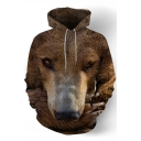 Fashion 3D Wolf Pattern Long Sleeve Brown Casual Drawstring Hoodie