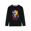 The Avengers 4 Fashion Letter Figure Printed Long Sleeve Mens Black T-Shirt