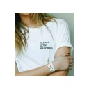 Street Style Simple Letter IT'S ALL GOOD BABY BABY Print Short Sleeve White Unisex T-Shirt