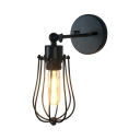 Industrial Wire Frame Sconce Light Single Light Metal Light Fixture in Black for Kitchen