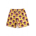 Trendy Figure Letter Printed Drawstring Waist Quick Dry Yellow Unisex Loose Surfing Beach Swim Trunks