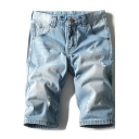 Mens Retro Fashion Destroyed Ripped Light Blue Casual Denim Shorts