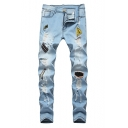 Men's New Fashion Embroidery Badge Logo Patchwork Destroyed Light Blue Ripped Jeans