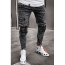 Guys Black Fashion Knee Cut Zip Embellished Distressed Slim Cropped Ripped Jeans