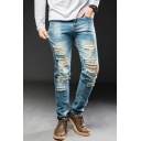 Men's Retro Bleach Wash Straight Fit Light Blue Ripped Jeans