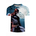 Batman Cool 3D Figure Printed Basic Round Neck Short Sleeve Fitness Blue T-Shirt