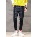 Fashionable Camo Patched Drawstring Waist Slim Fit Mens Black Jeans