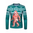 New Stylish Funny Christmas Monkey Pattern Round Neck Long Sleeve Slim Fit Green T-Shirt