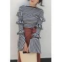 New Stylish Classic Stripes Ruffle Long Sleeve Knit T-Shirt