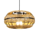 Woven Drum Ceiling Pendant Lamp Rustic Style 1LT Hanging Light Fixture for Restaurant with Adjustable Cord