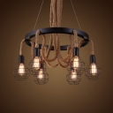 Matte Black 6 Light Wired Chandelier with Hemp Rope Industrial Halo Chandelier for Living Room Restaurant
