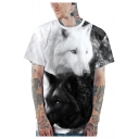 Unisex 3D Wolf Cat Pattern Round Neck Short Sleeve Loose Casual Black and White T-Shirt