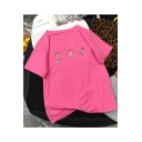 Lovely Pig Pattern Round Neck Short Sleeve Casual Cotton T-Shirt