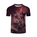 Fashion Cool Robot Soldier Printed Short Sleeve Round Neck Leisure T-Shirt