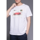 Summer Mens Cool Dog Car Pattern Short Sleeve Cotton Loose Fit T-Shirt