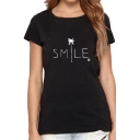 Unisex Fashion Tree Letter SMILE Print Short Sleeve Cotton Tee