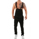 Men's New Stylish Street Fashion Ripped Detail Denim Suspender Bib Overalls