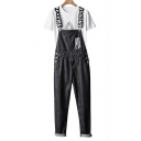 Men's Hip Hop Fashion Letter Printed Vintage Black Denim Jeans Bib Overalls