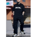 Mens Cool Street Letter MADE EXTREME Short Sleeve Cotton Loose Work Coveralls