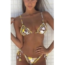 Sexy Women's Ethnic Tribal Printed Spaghetti Straps Tied Sides String Yellow Bikinis