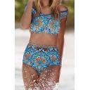 Blue Vintage Ethnic Floral Printed Off the Shoulder High Waist Bottom Bikini Swimwear