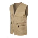 New Trendy Solid Color V-Neck Zip Closure Outdoor Casual Fitted Photography Vest