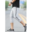 Guys Fashion Tape Side Drawstring Waist Breathable Sport Casual Cropped Sweatpants