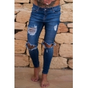 Guys Basic Fashion Knee Cut Distressed Skinny Fit Ripped Jeans