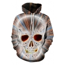 Cool Funny Skull 3D Printing Long Sleeve Relaxed Fit Drawstring Hoodie