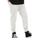 Men's Simple Basic Plain Drawstring Waist Sport Loose Light Grey Sweatpants