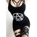 Punk Style Sexy Logo Pattern Black Mini Bodycon Slip Dress for Women