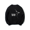 The Lord of the Rings Figure Letter YOU SHALL NOT PASS Printed Long Sleeve Unisex Black Pullover Sweatshirt