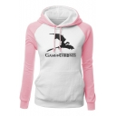 Game of Thrones Dragon Printed Colorblock Long Sleeve Fitted Hoodie