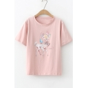 Fashion Floral Deer Pattern Round Neck Short Sleeve Loose Casual T-Shirt