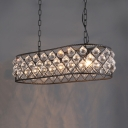 Industrial Black Hanging Island Lights with Clear Crystal Decoration and 31.5