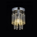 Bedroom Cylinder Flush Mount Lighting Clear Crystal Modern Nickel Hanging Chandelier