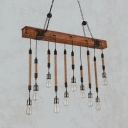 Dining Room Linear Hanging Island Lights with Adjustable Chain Rope Vintage Brown Island Lighting