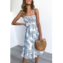 Womens New Trendy Tropical Leaves Printed Ruffle Hem Midi Slip Dress for Women