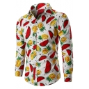 Guys New Stylish Allover Pineapple Watermelon Printed Long Sleeve Slim Fitted Shirt