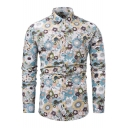 Holiday Stylish Allover Sunflower Printed Men's Casual Fitted Long Sleeve Button-Up Shirt
